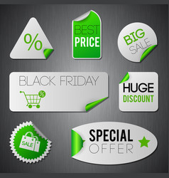 black friday stickers set vector image
