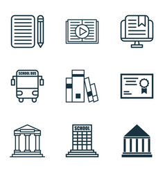 set of 9 education icons includes college home vector image vector image