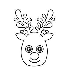 silhouette cute face reindeer animal vector image