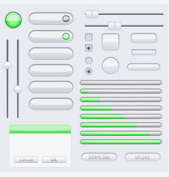 white blank buttons with green tags web interface vector image vector image