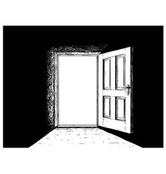 cartoon of open wooden decision door vector image
