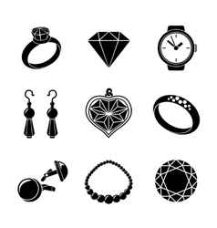 Jewelry monochrome icons set with - rings vector image vector image