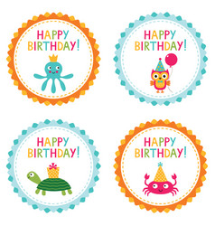 kid party birthday badges vector image vector image
