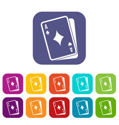 playing card icons set vector image vector image