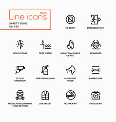 safety signs - modern single line icons set vector image vector image