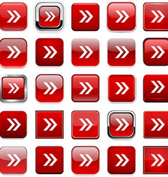 Square red arrow icons vector image vector image