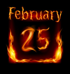 twenty-fifth february in calendar of fire icon on vector image vector image