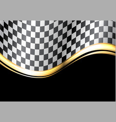 checkered flag gold line wave black sport race vector image vector image