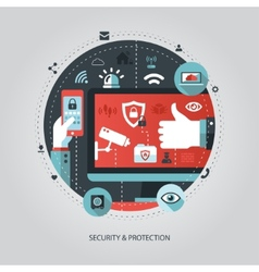 flat design business with security vector image