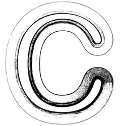 Grunge Font letter C vector image vector image