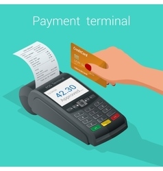 Isometric pos terminal confirms the payment by vector
