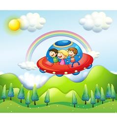 Kids in ufo vector