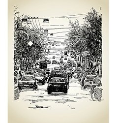 Line art city traffic composition vector