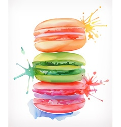 Macarons watercolor painting isolated on a white vector image vector image