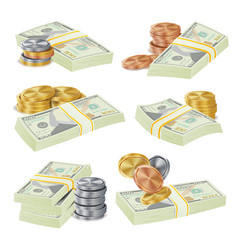realistic money stacks vector image