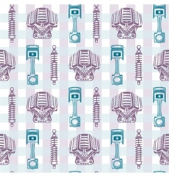 Seamless pattern parts sports car vector image