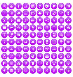 100 network icons set purple vector image
