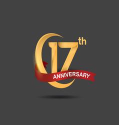 17 anniversary design logotype golden color vector