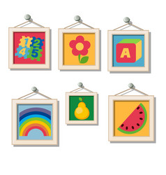 a set of cute wall paintings for kindergarten vector image