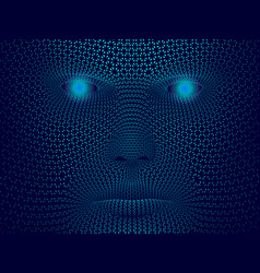 abstract face of a man consisting of small vector image