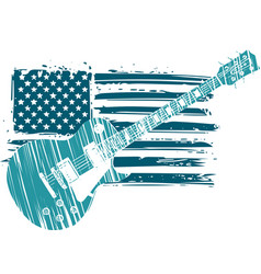 An electric guitar with american flag isolated on vector
