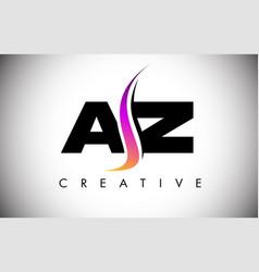 Az letter logo design with creative shoosh vector