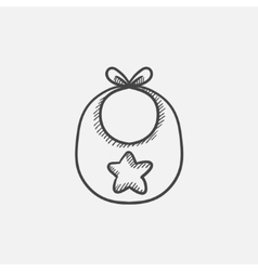 Baby bib sketch icon vector image
