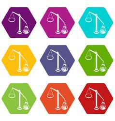 balance election icons set 9 vector image