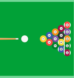 billiard ball icon and cue stick flat design for vector image