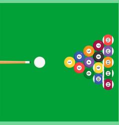 billiard ball icon and cue stick flat design vector image