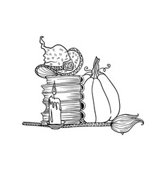 broom and pumpkin near stack books and candle vector image