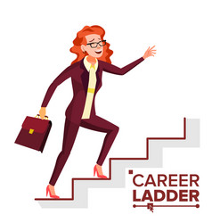 business woman climbing career ladder fast vector image