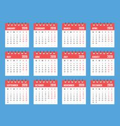 calendar for 2019 starts monday calendar vector image