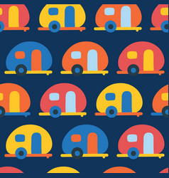 camping caravans seamless pattern retro vector image