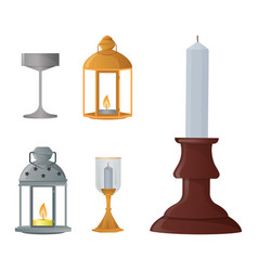 candlestick candle lantern vintage vector image