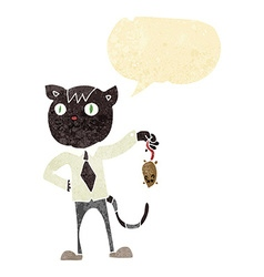 Cartoon business cat with dead mouse with speech vector