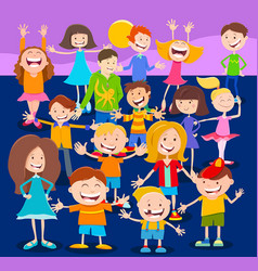 Cartoon children and teens characters crowd vector
