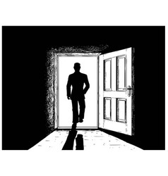 Cartoon of open door and man walking in or from vector
