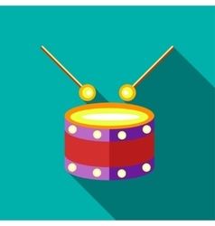 Children s toy drum on blue-green background vector image