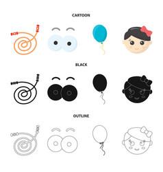 Children toy cartoonblackoutline icons in set vector