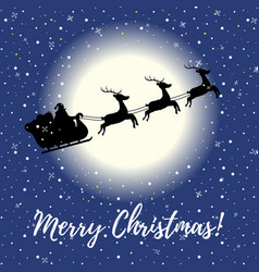 Christmas card with flying sleigh at night vector