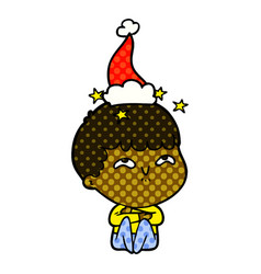 Comic book style of a amazed boy wearing santa hat vector