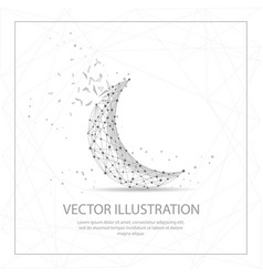 Crescent moon digitally drawn low poly wire frame vector