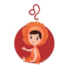 Cute little girl as leo astrological sign vector