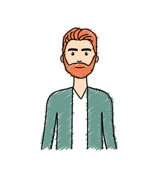 Cute man with hairstyle and beard vector