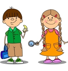 Cute school boy and school girl drawing vector