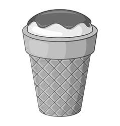 Delicious ice cream icon gray monochrome style vector