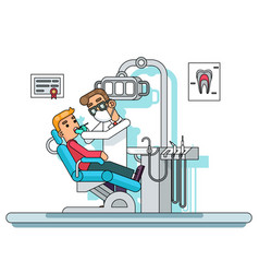 dental treatment doctor dentist chair hospital vector image