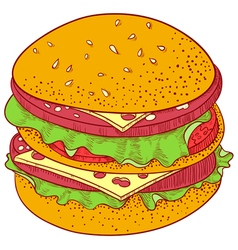 Doodle Cheeseburger vector image