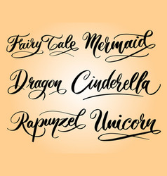 Dragon and mermaid hand written typography vector